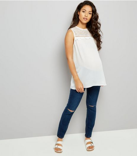 Maternity Dark Blue Under Bump Ripped Knee Jeans | New Look