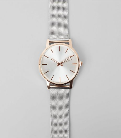 Metallic Mesh Strap Watch | New Look