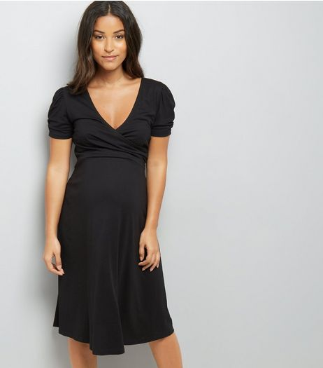 Maternity Black Puff Sleeve Wrap Front Dress | New Look