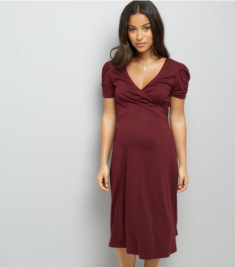 Maternity Burgundy Puff Sleeve Wrap Front Dress  | New Look