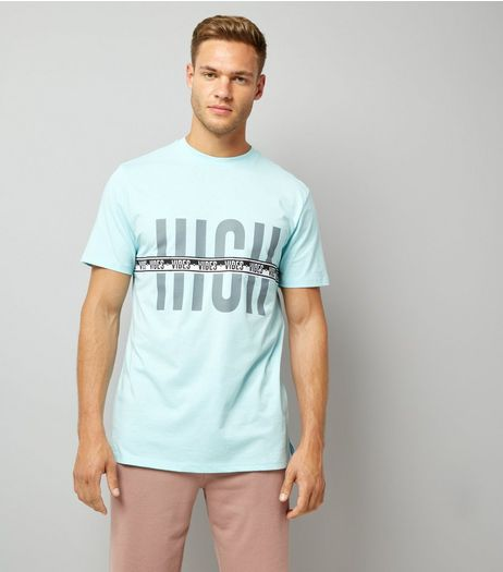 Pale Blue Vibes Tape Print T-Shirt | New Look