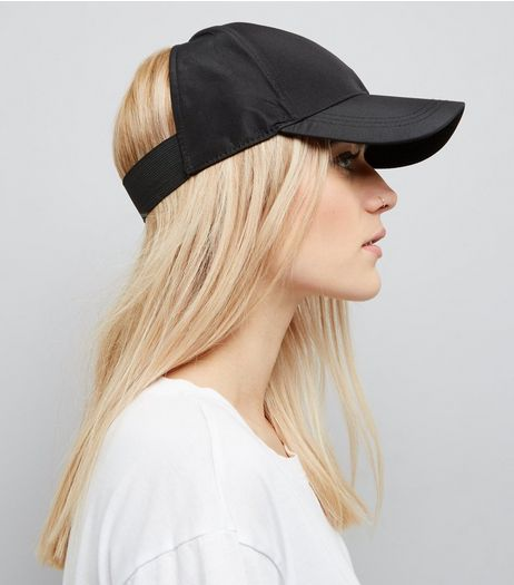 Black Cut Out Cap  | New Look