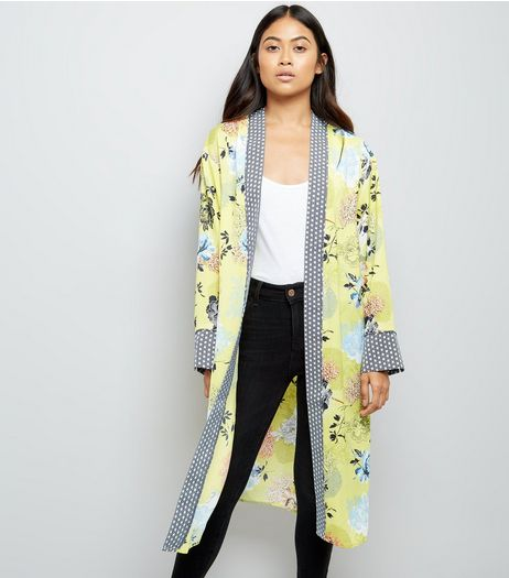 Petite Yellow Floral Print Satin Longline Kimono | New Look