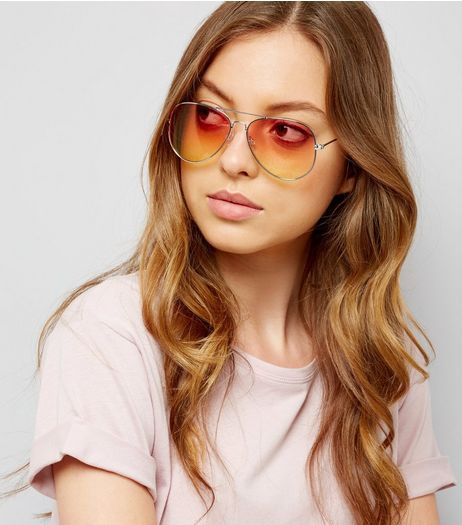 Coral Lens Pilot Glasses  | New Look