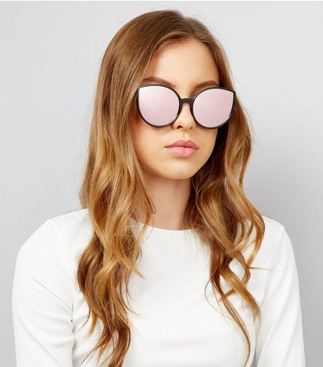 Black Mirror Lens Cat Eye Sunglasses  | New Look
