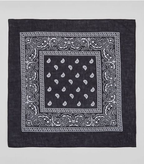 Black Paisley Print Bandana | New Look
