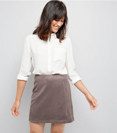 Grey Suedette A-Line Mini Skirt | New Look