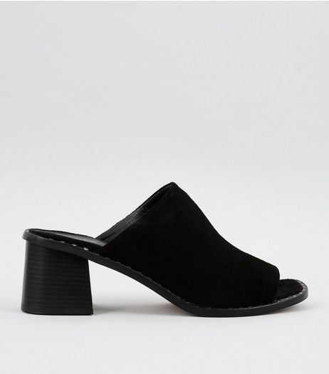 Black Leather Stud Peep Toe Heeled Mules | New Look