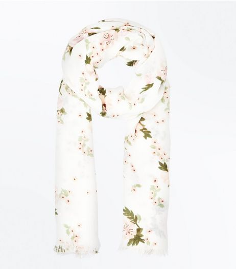 Cream Rose Print Scarf | New Look
