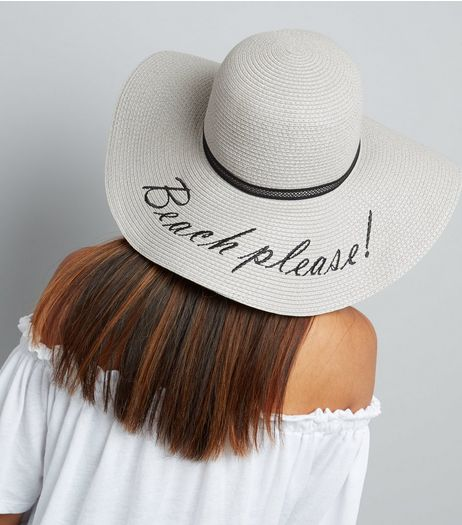 Grey Beach Please Floppy Hat | New Look