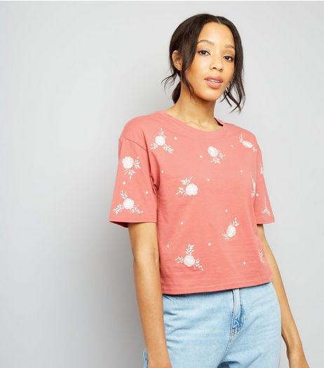Pink Floral Embroidered T-Shirt | New Look