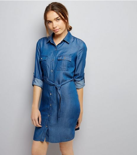 Blue Denim Belted Shirt Dress | New Look