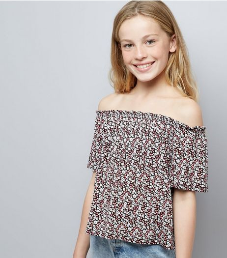 Teens Black Ditsy Floral Print Bardot Neck Top | New Look