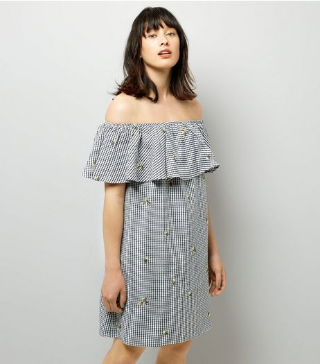 Black Floral Embroidered Gingham Bardot Neck Dress | New Look