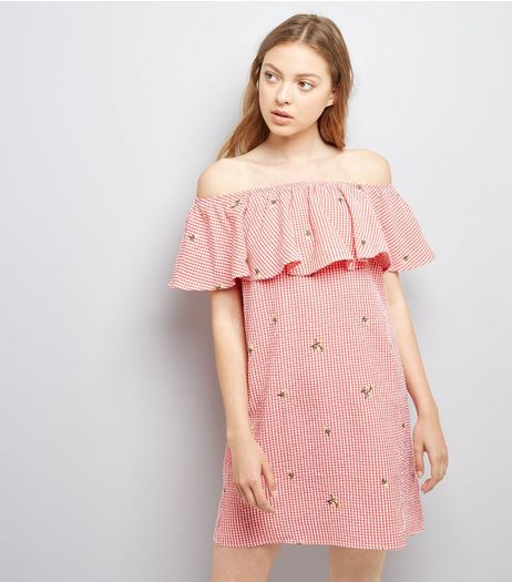 Red Floral Embroidered Gingham Bardot Neck Dress | New Look