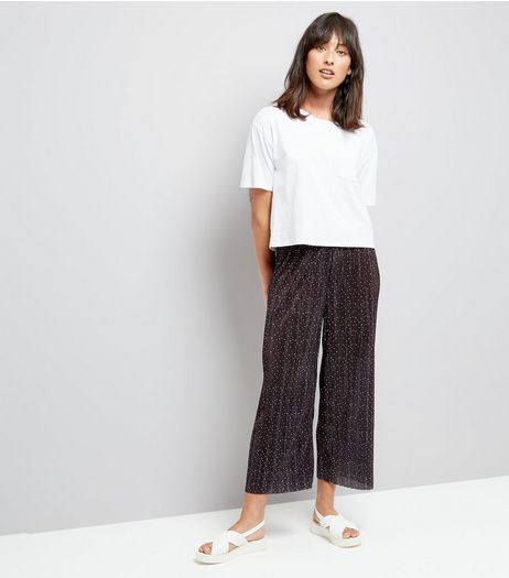 Black Spot Print Pleated Cropped Trousers | New Look