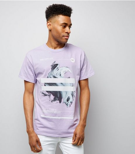 Lilac Brushstroke Stripe Print T-Shirt | New Look