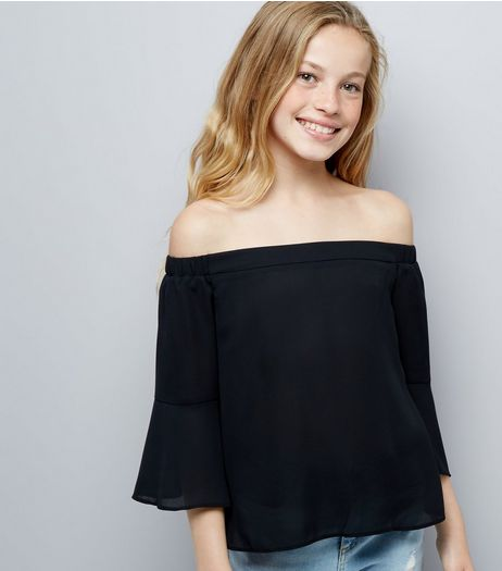 Teens Black Bell Sleeve Bardot Neck Top | New Look