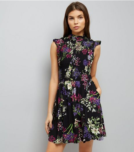 Blue Vanilla Black Floral Print Dress  | New Look