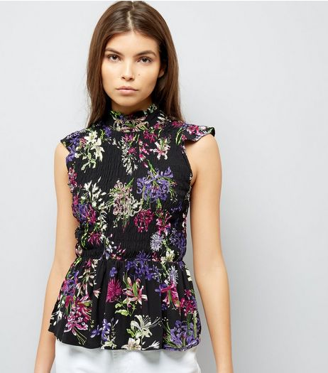 Blue Vanilla Black Floral Print Sleeveless Top | New Look