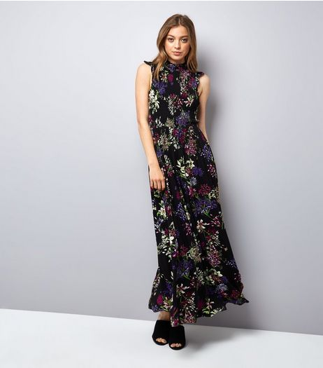 Blue Vanilla Black Floral Print Shirred Maxi Dress | New Look