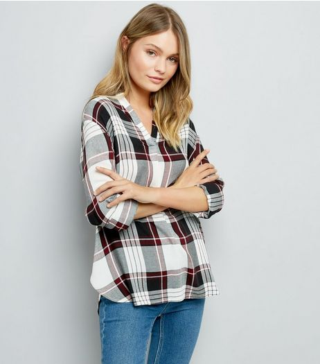 Black Contrast Check Print Shirt | New Look