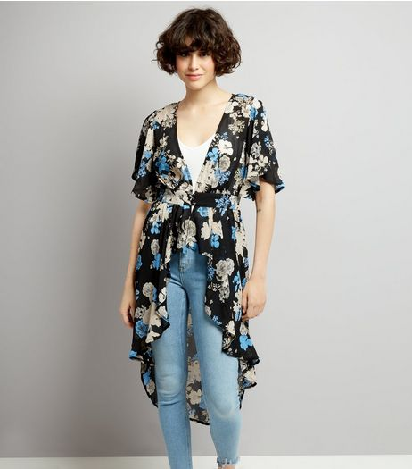 Black Floral Print Button Front Kimono | New Look