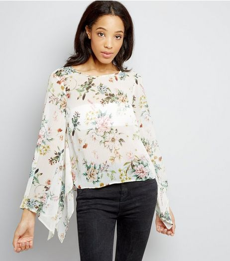 Cream Floral Print Hanky Sleeve Top | New Look