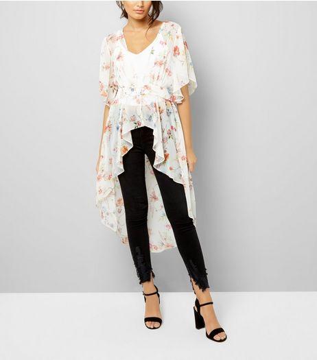 White Floral Print Dip Hem Kimono | New Look