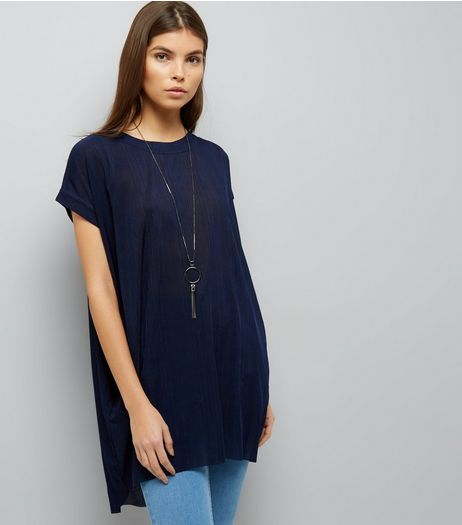 Blue Vanilla Navy Oversized Top  | New Look