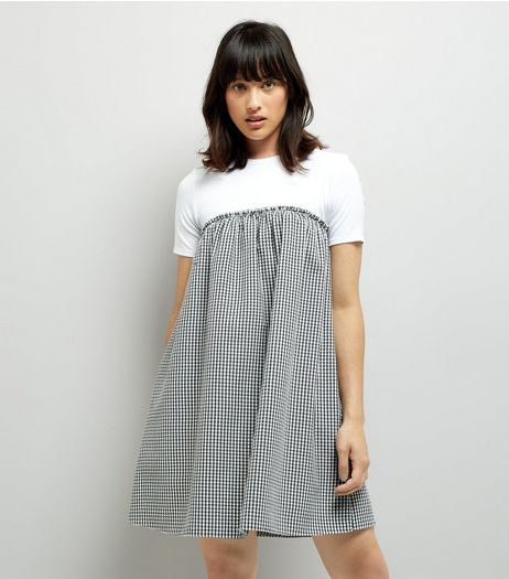 Black Gingham Check 2 in 1 Dress  | New Look