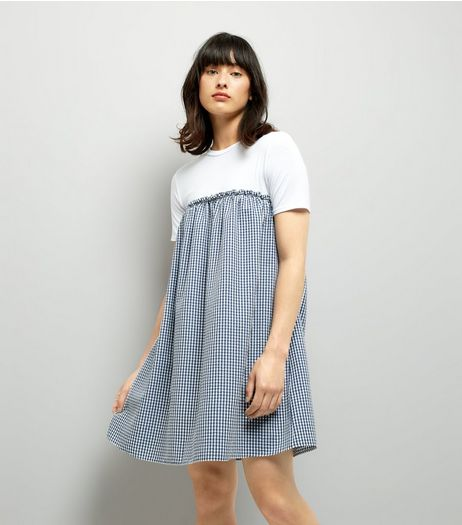 Blue Gingham 2 in 1 Dress | New Look