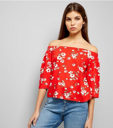 Parisian Red Floral Print Bardot Neck Top  | New Look