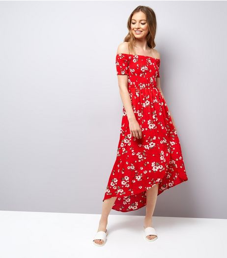 Parisian Red Floral Print Shirred Bardot Maxi Dress | New Look