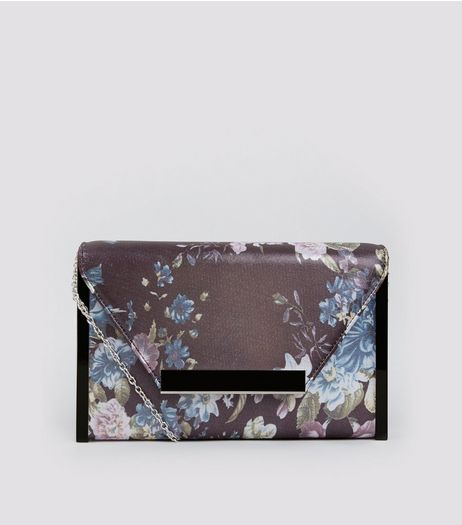Grey Floral Print Envelope Box Clutch Bag | New Look