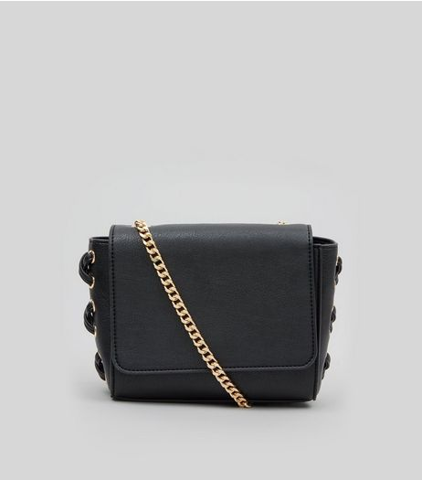 Black Lace Up Side Cross Body Bag | New Look