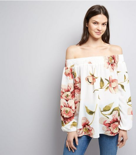 AX Paris White Floral Print Bardot Neck Top | New Look