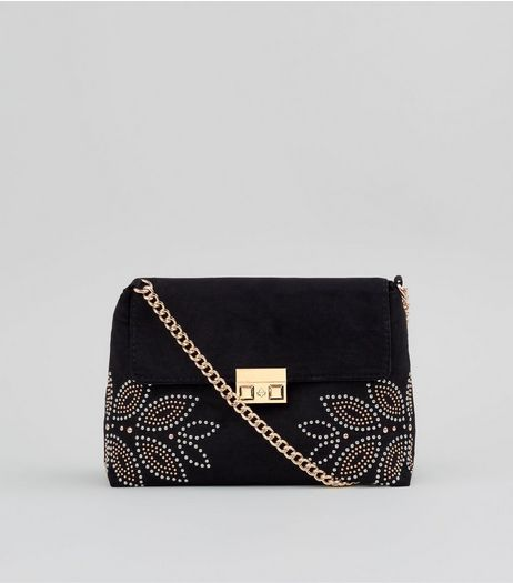 Black Stud Embellished Cross Body Bag | New Look