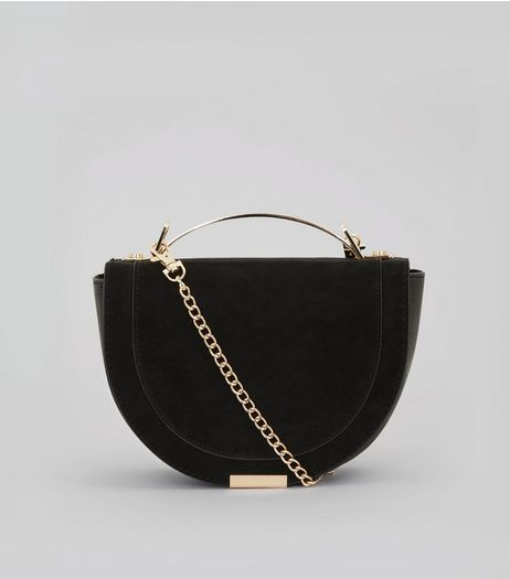 Black Curved Metal Handle Cross Body Bag | New Look