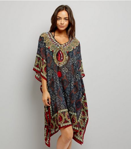 Mela Black Printed Kaftan | New Look