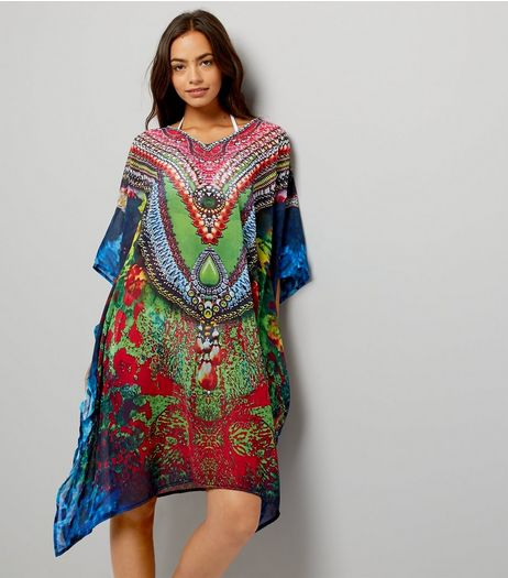 Mela Red Printed Kaftan | New Look