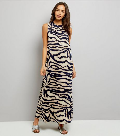 Mela Navy Abstract Print Maxi Dress | New Look