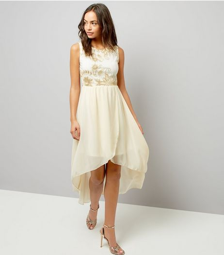 Mela White Floral Embellished Dip Hem Dress | New Look