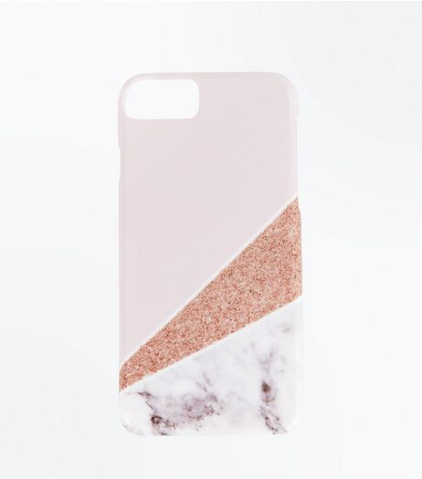 Pink Marble Glitter iPhone 6/7 Case  | New Look