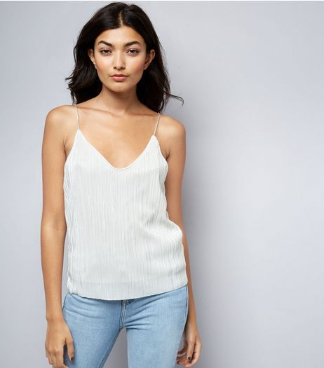 Cream Pleated Cami | New Look