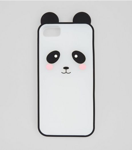 Black Silicone Panda iPhone Case | New Look