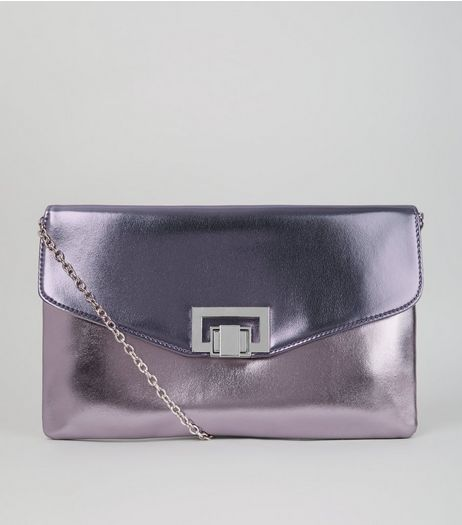 Lilac Metallic Shoulder Bag  | New Look