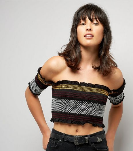 Black Stripe Shirred Bardot Neck Crop Top | New Look