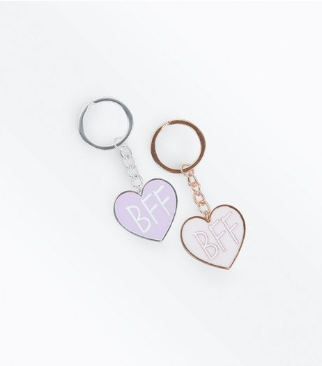 2 Pack Pink BFF Keyrings | New Look