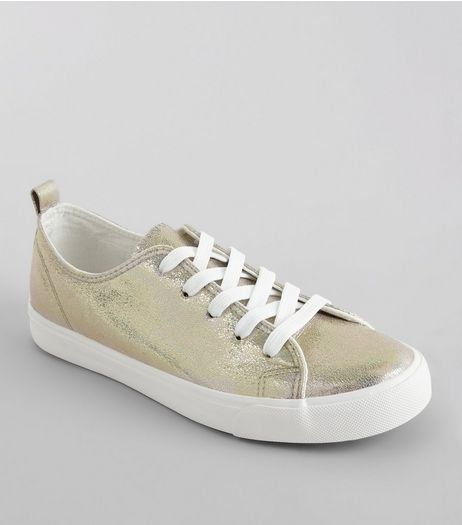 Gold Iridescent Lace Up Trainers | New Look